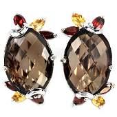 NATURAL SMOKY QUARTZ GARNET CITRINE Earrings