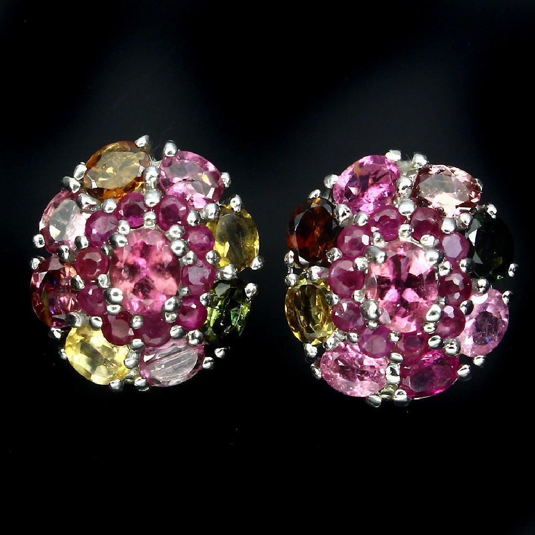 Natural Fancy Tourmaline Ruby Earrings