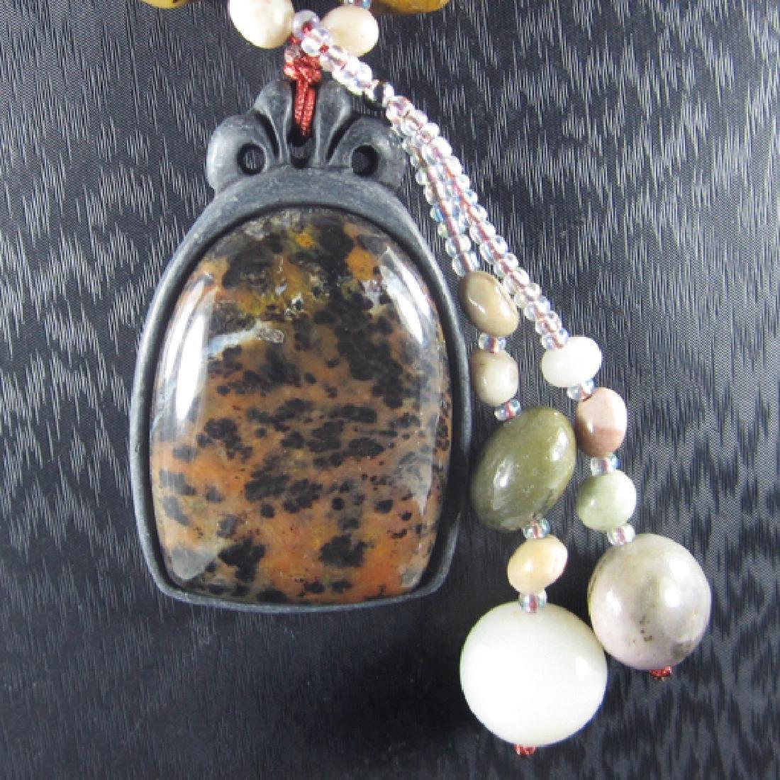 Petrified Wood Opal Hand-Made Diamond Polished Necklace - 2