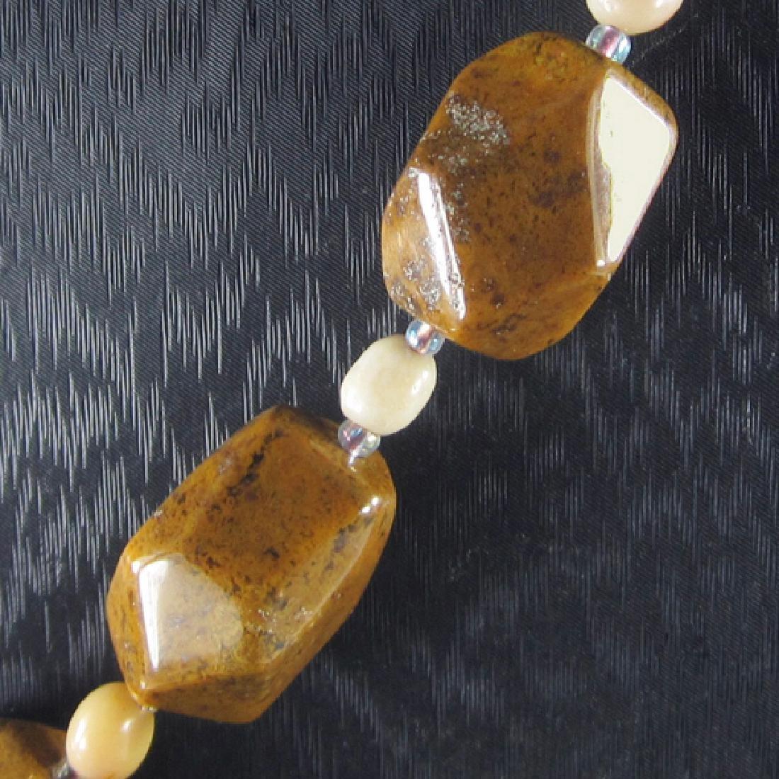 Petrified Wood Opal Hand-Made Diamond Polished Necklace - 3