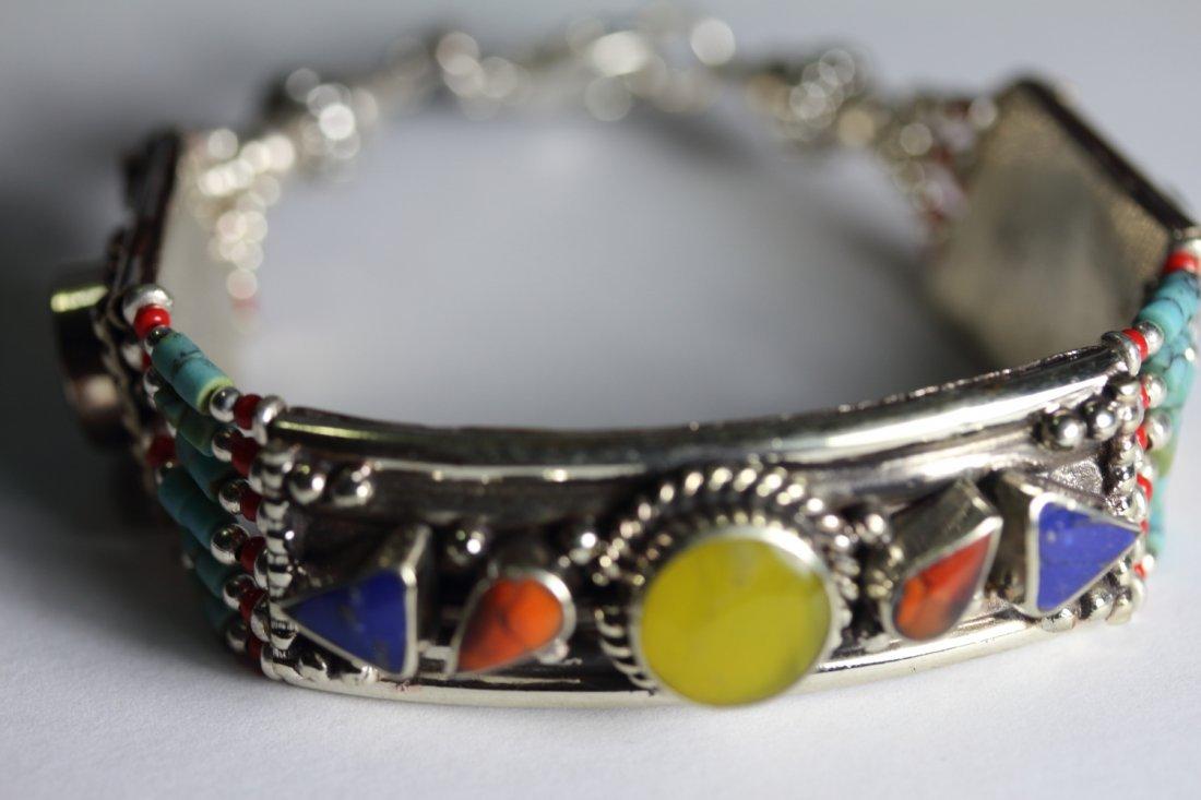 Tibet Hand Made Amber, Coral, Lapis Lazuli Bracelet