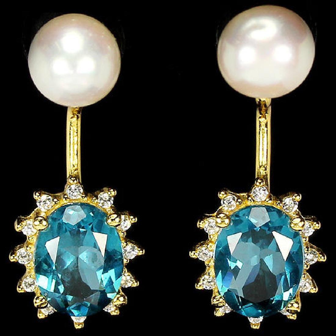 Natural London Blue Topaz & Pearl Earrings