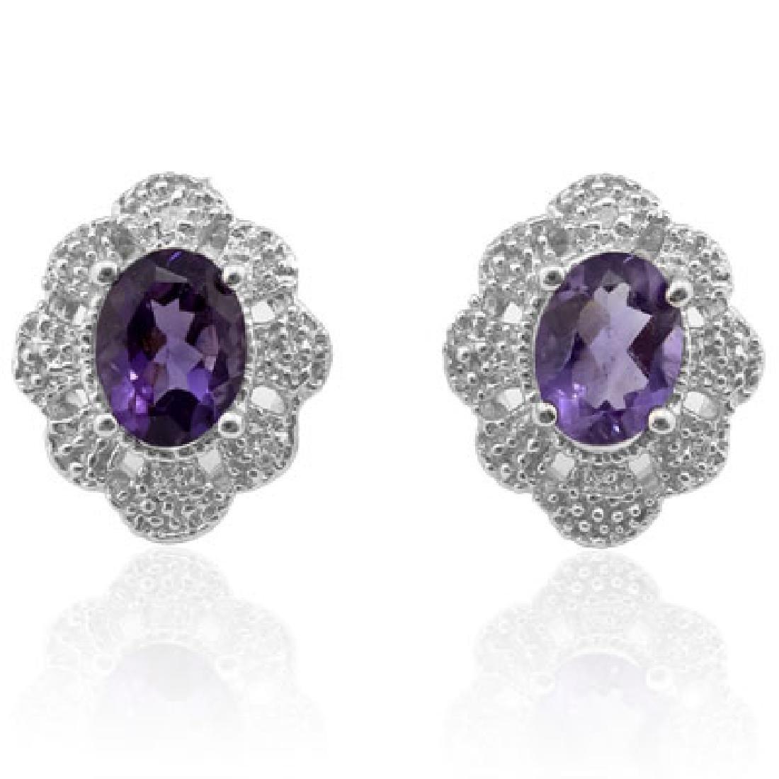 Natural Amethyst & Diamond 2.36 carats Earrings