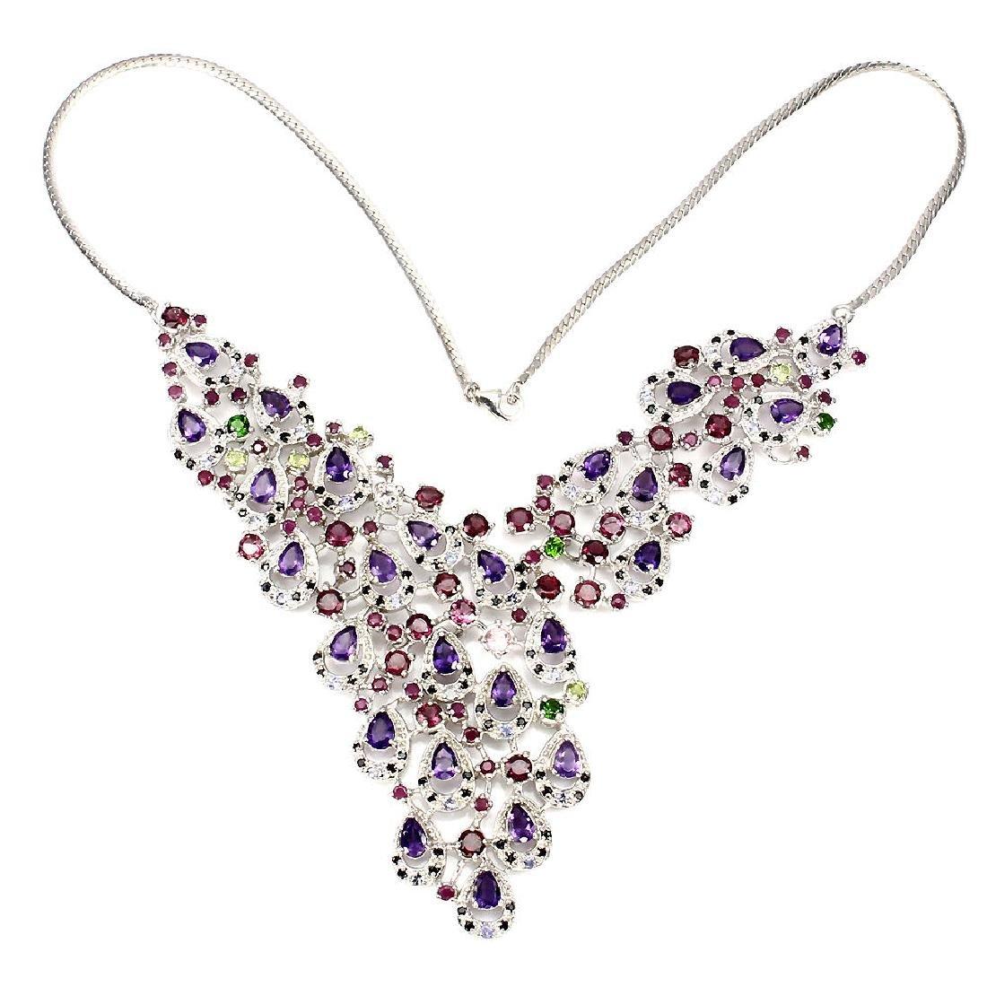 Natural Burmese Spinel & Multi Gemstones  Necklace - 2