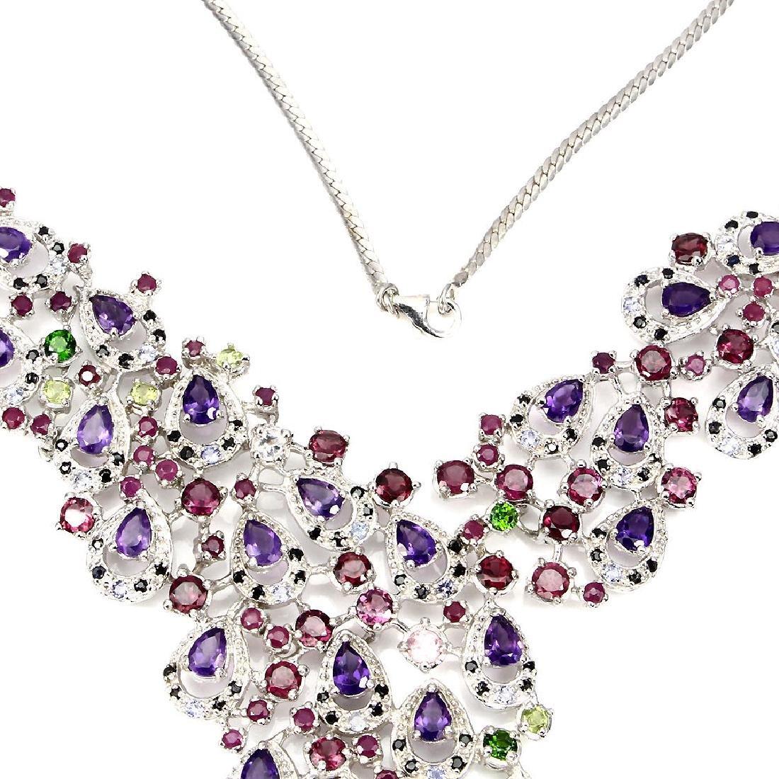 Natural Burmese Spinel & Multi Gemstones  Necklace - 3