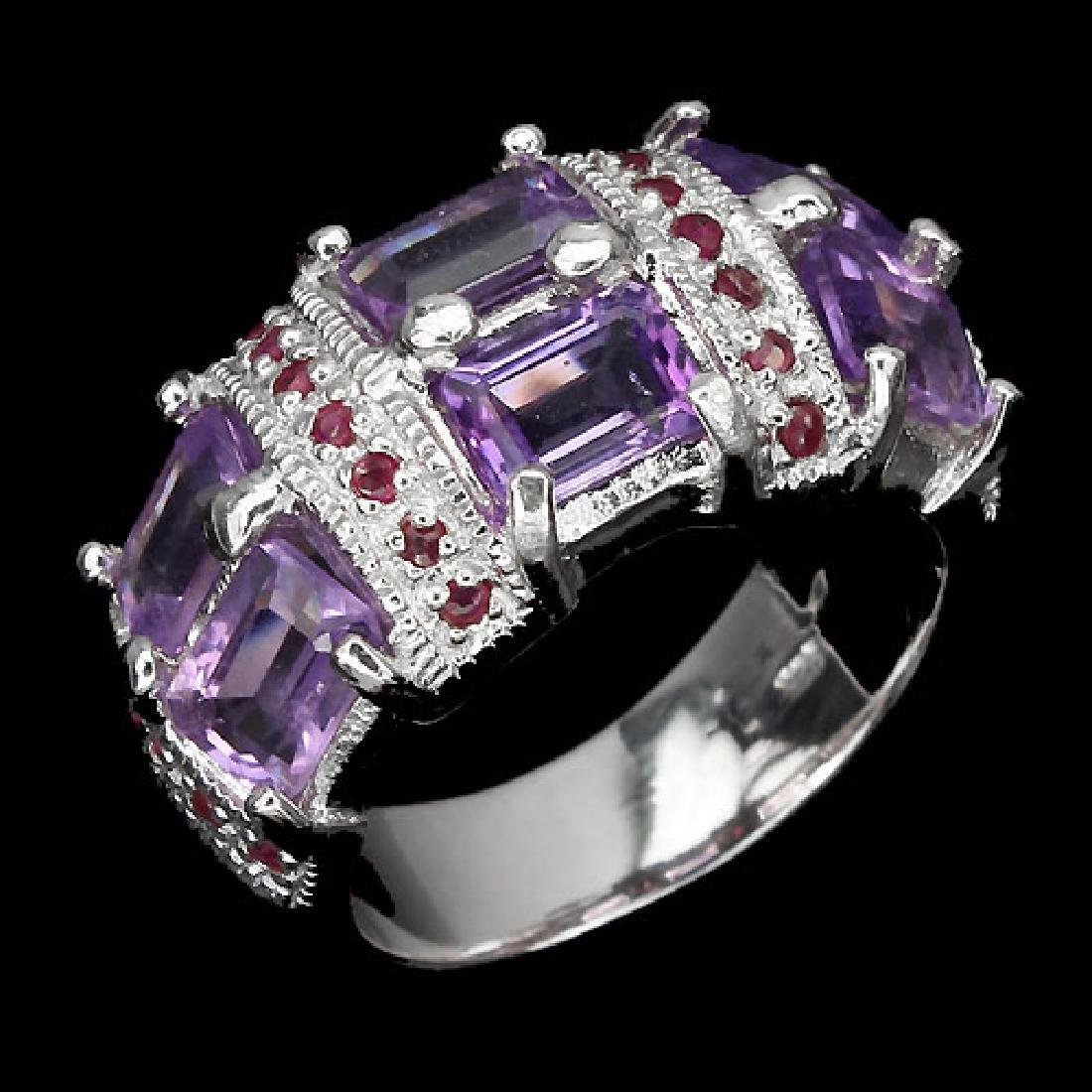 Natural Amethyst & Ruby Ring