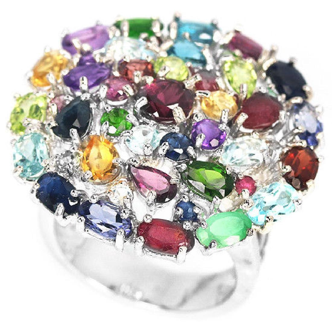 Natural  RUBY EMERALD SAPPHIRE TOPAZ Ring - 2