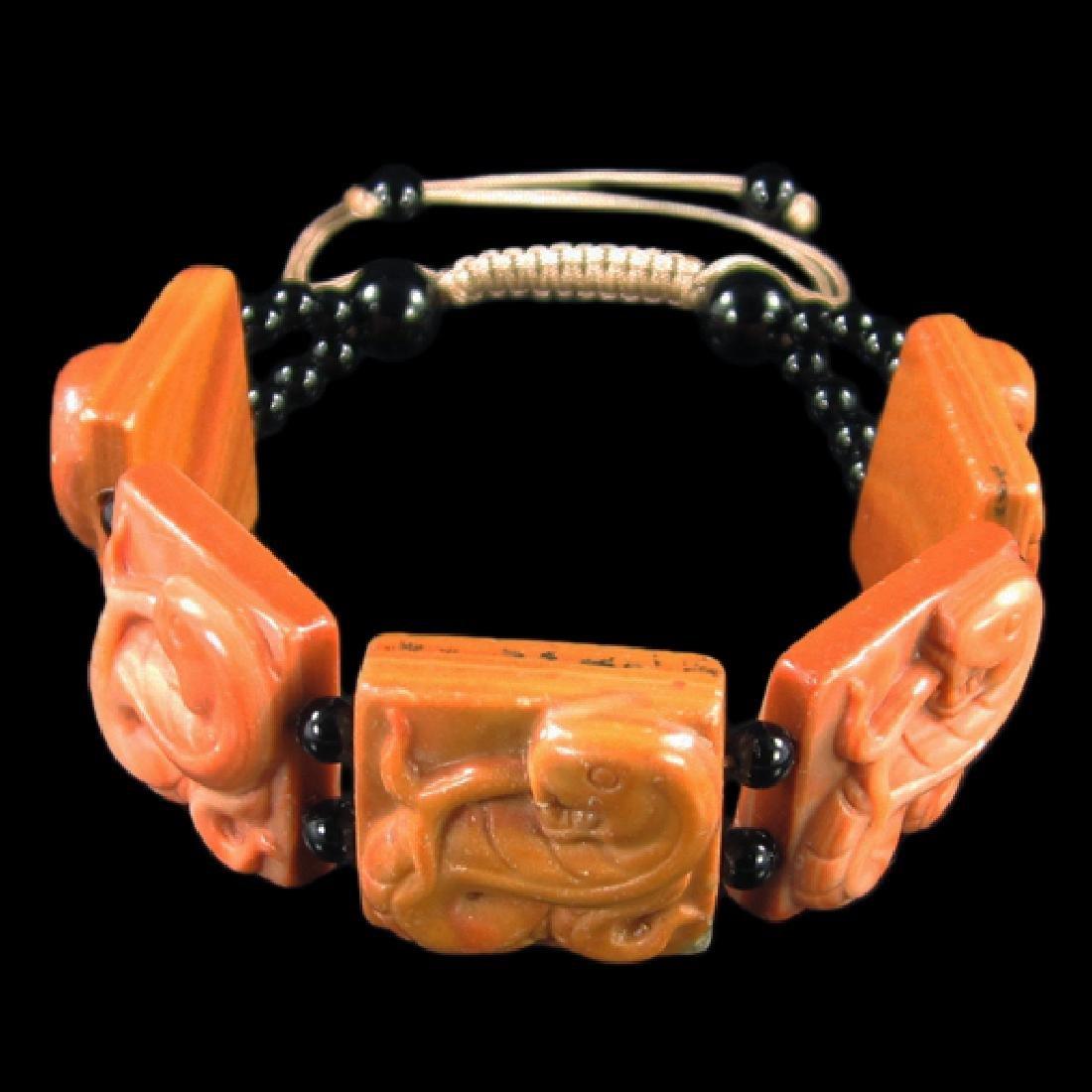 Natural Stone Hand Carved Snake Bracelet