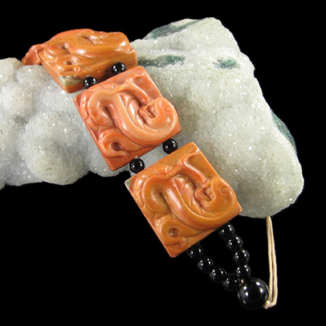 Natural Stone Hand Carved Snake Bracelet - 2
