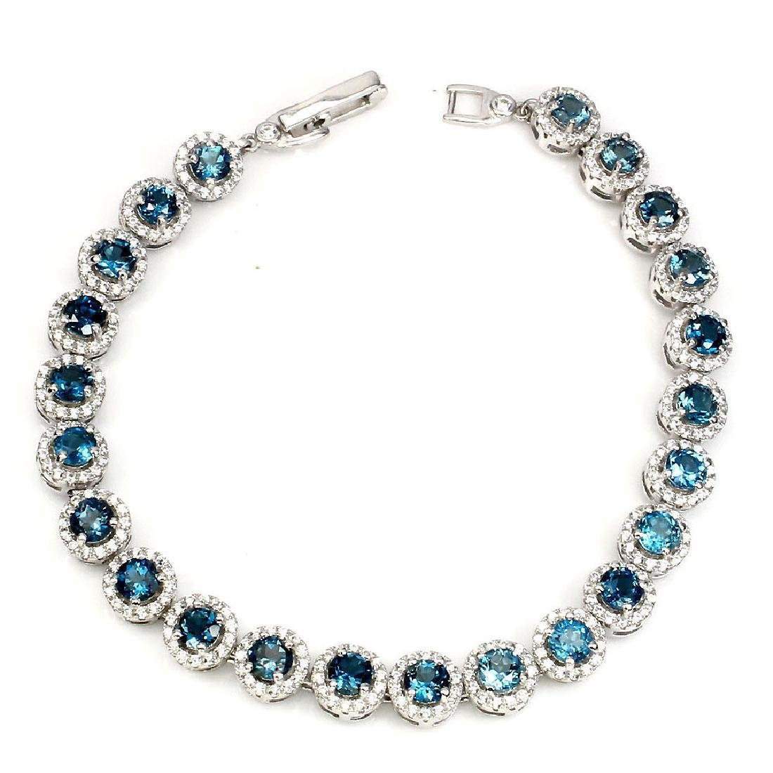 Natural London Blue Topaz 74 Carats Bracelet - 2