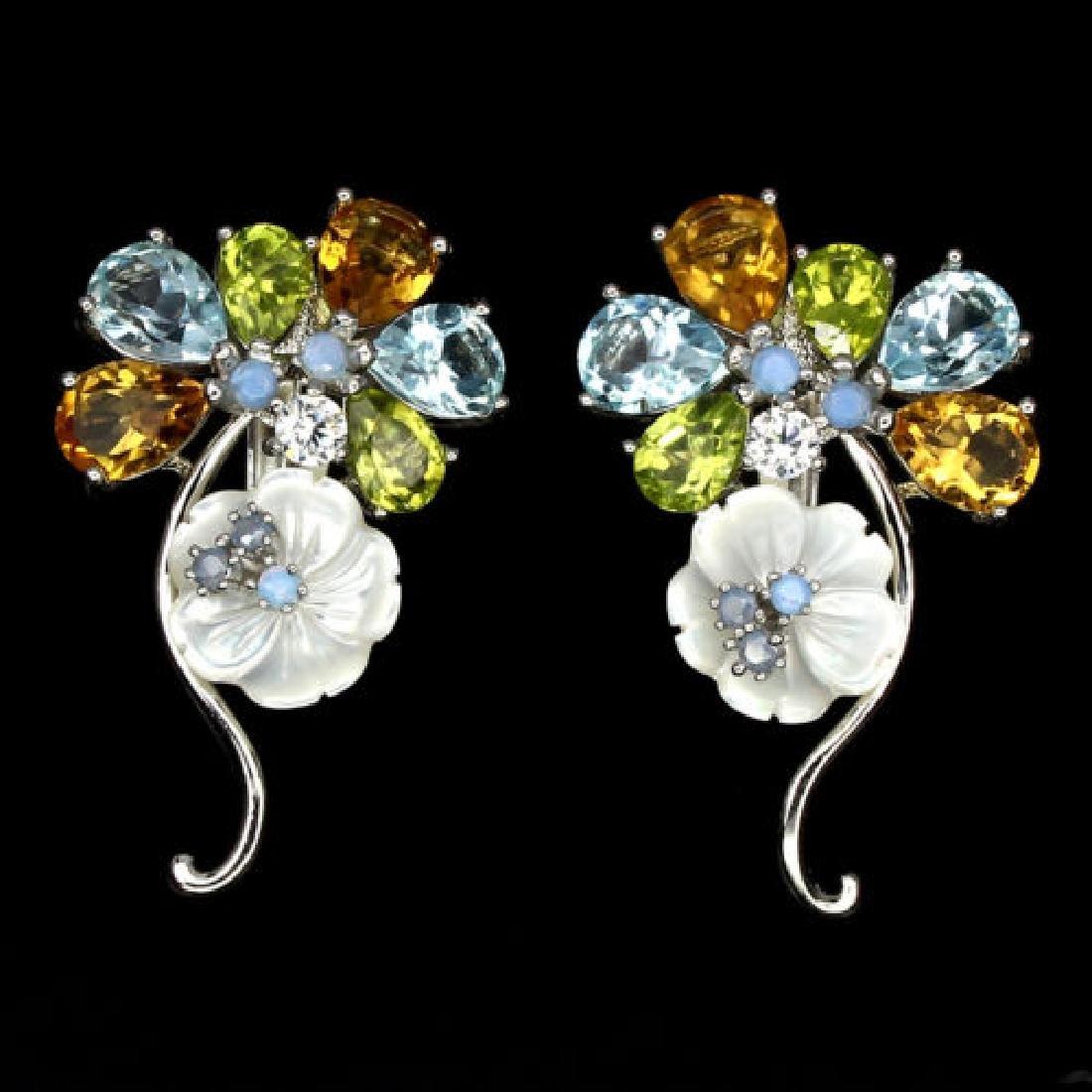 Natural Peridot Citrine  Opal Mop Blue Topaz Earrings