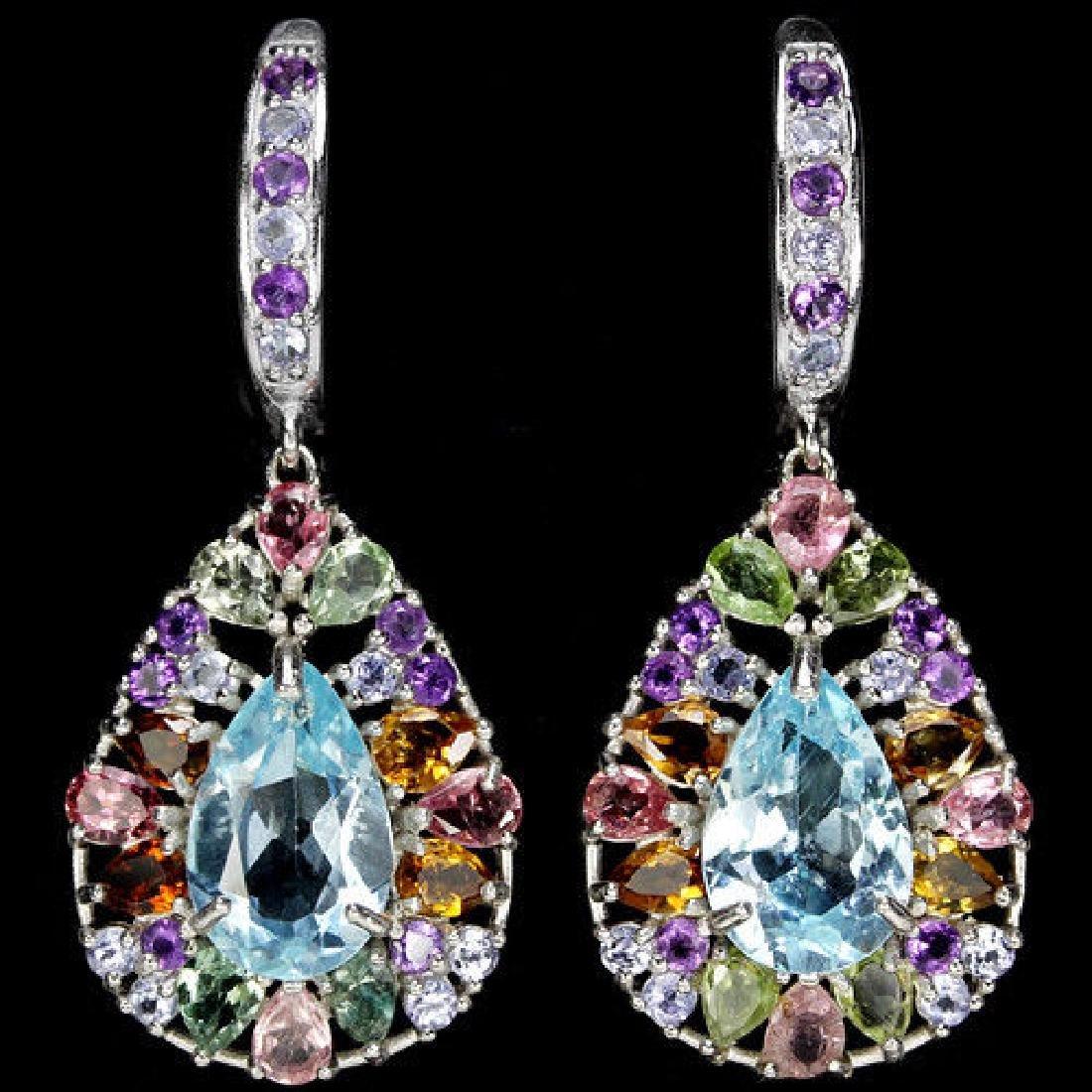 Natural AMETHYST TOURMALINE TANZANITE Earrings
