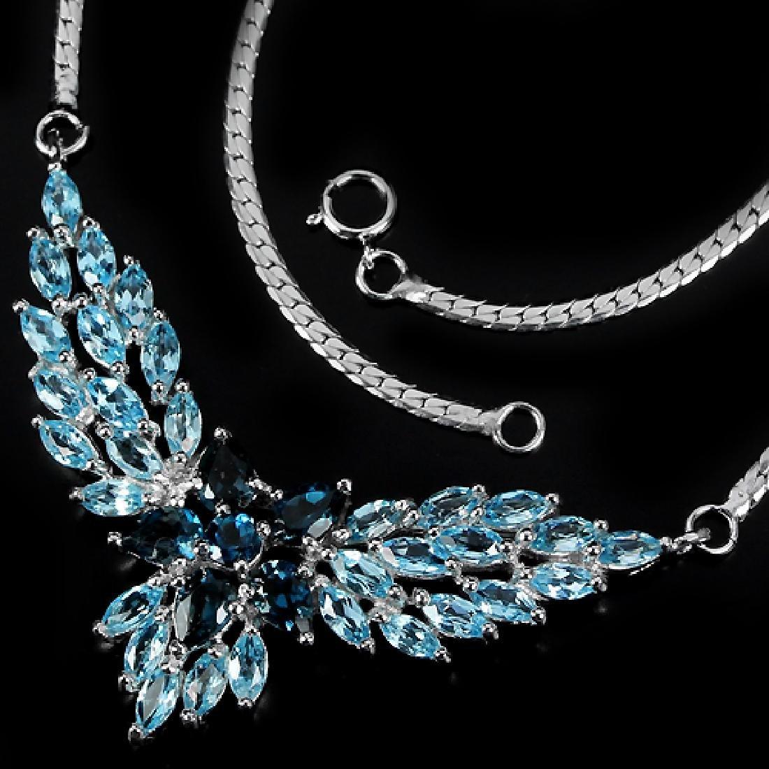 Natural Sky & London Blue Topaz Necklace