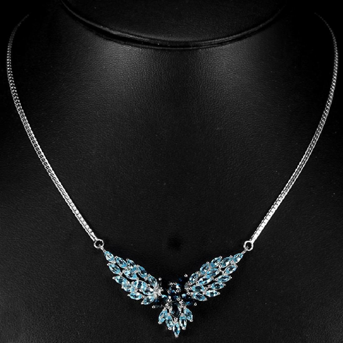 Natural Sky & London Blue Topaz Necklace - 2