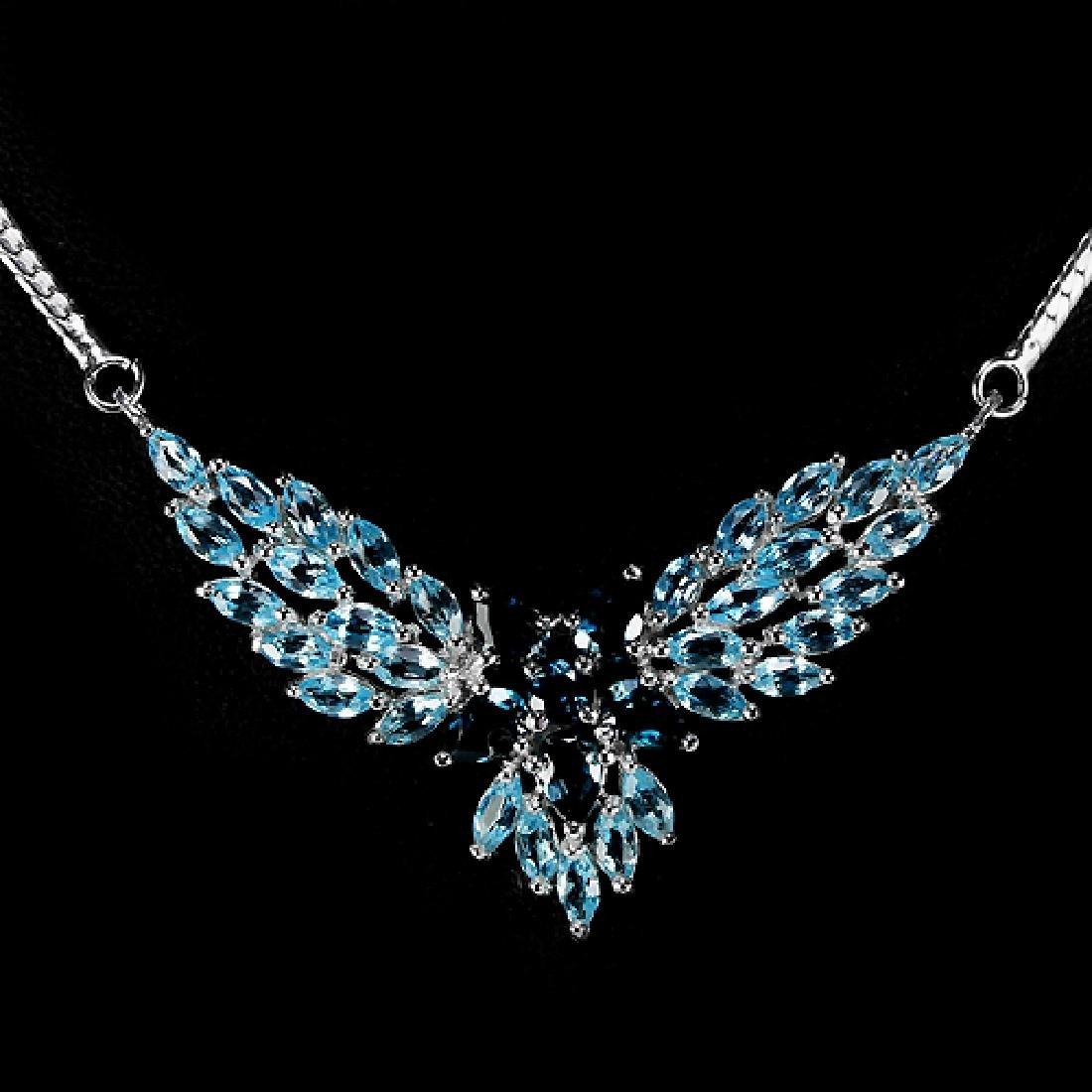 Natural Sky & London Blue Topaz Necklace - 3