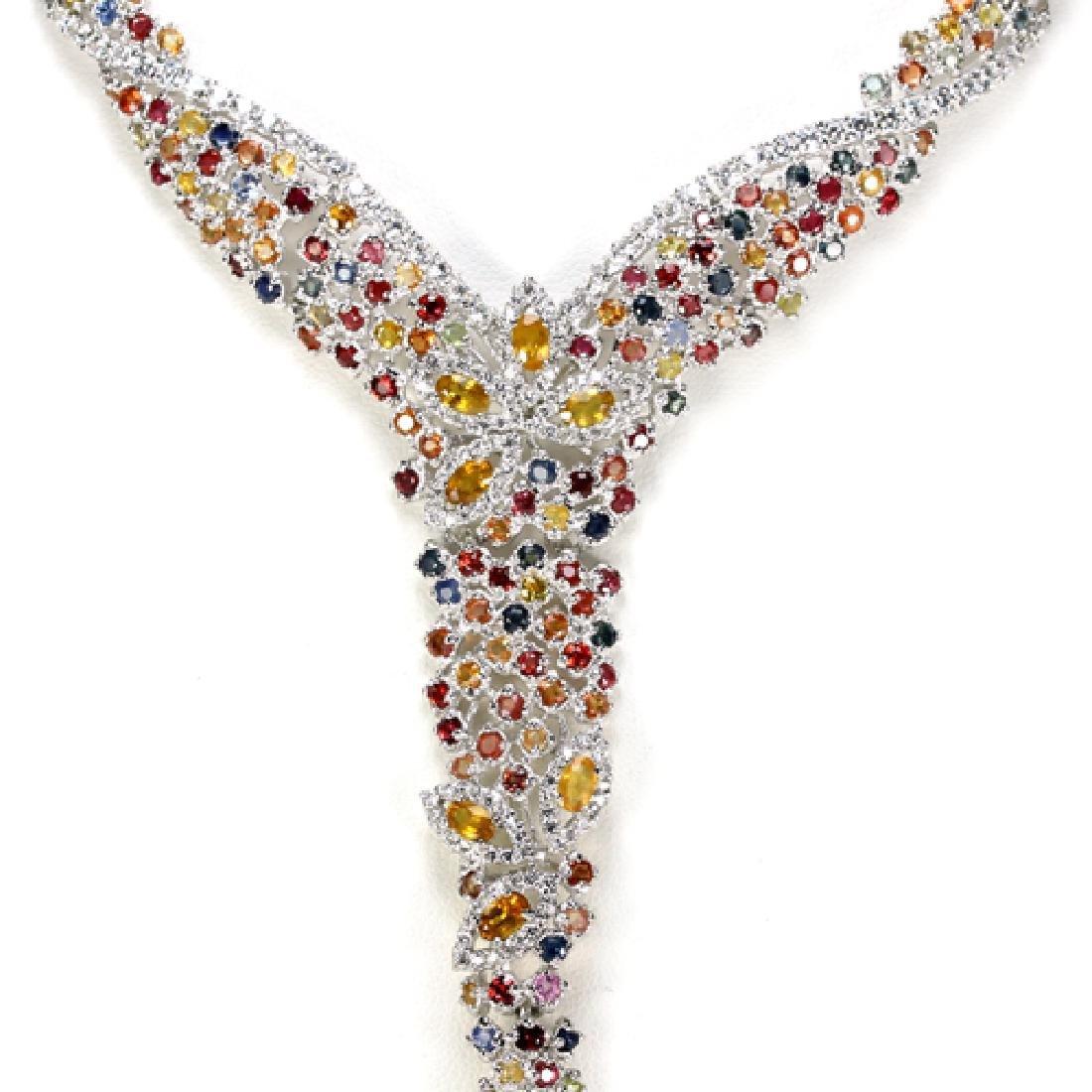 Natural Multi Color Sapphire Necklace - 2