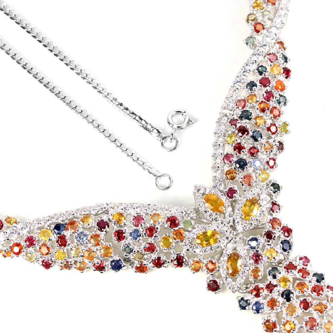 Natural Multi Color Sapphire Necklace - 3