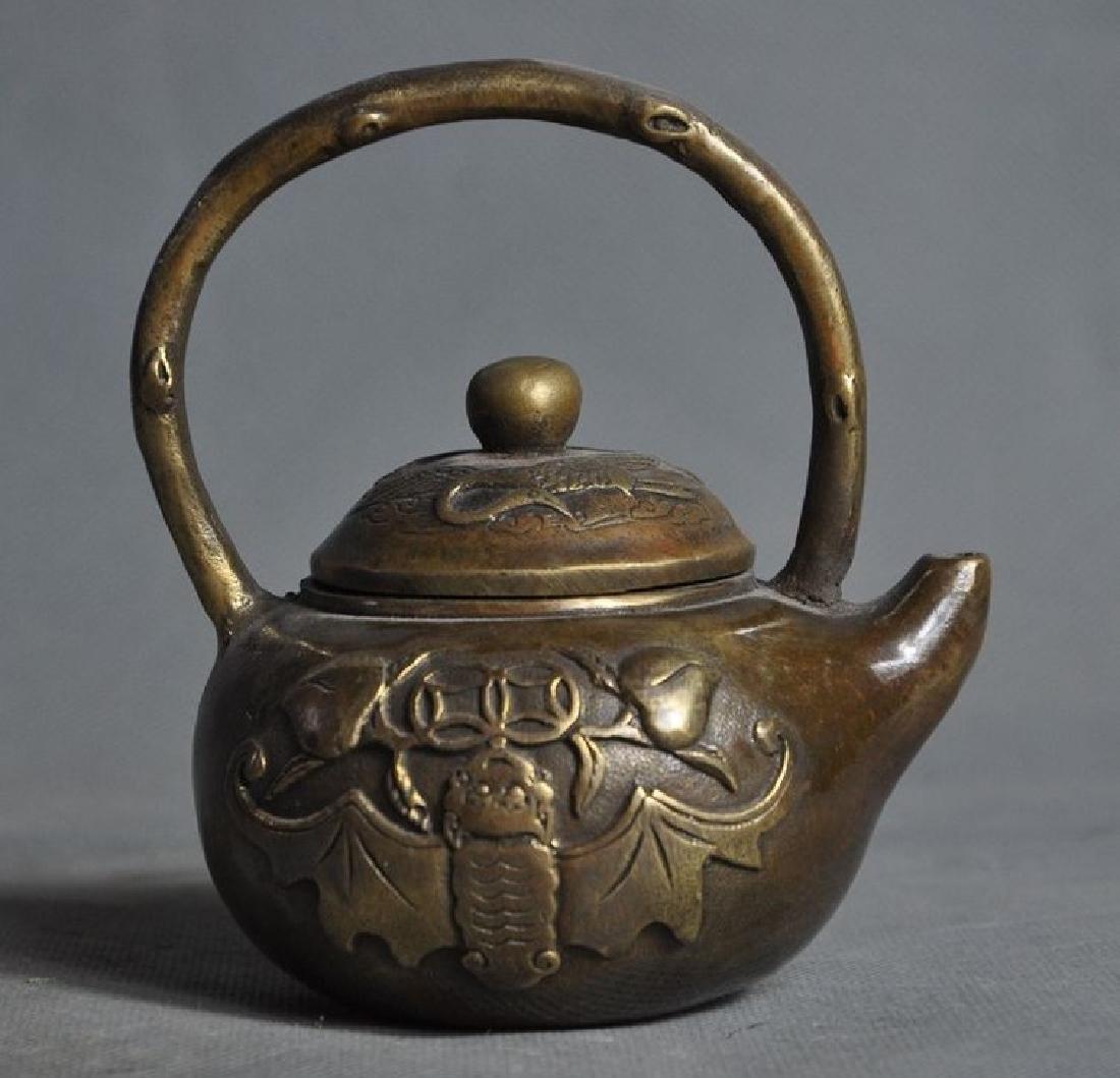 Old Chinese Bronze Crane Bat Peach Statue Teapot