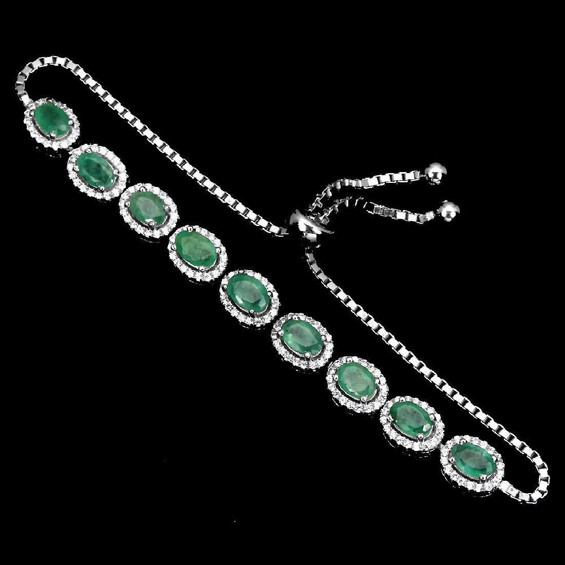 Natural Green Emerald Bracelet - 2