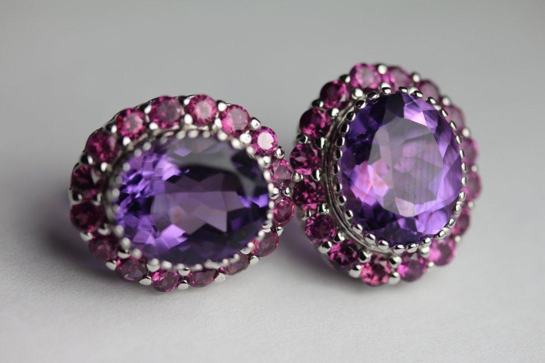 Natural Amethyst & Garnet Earrings