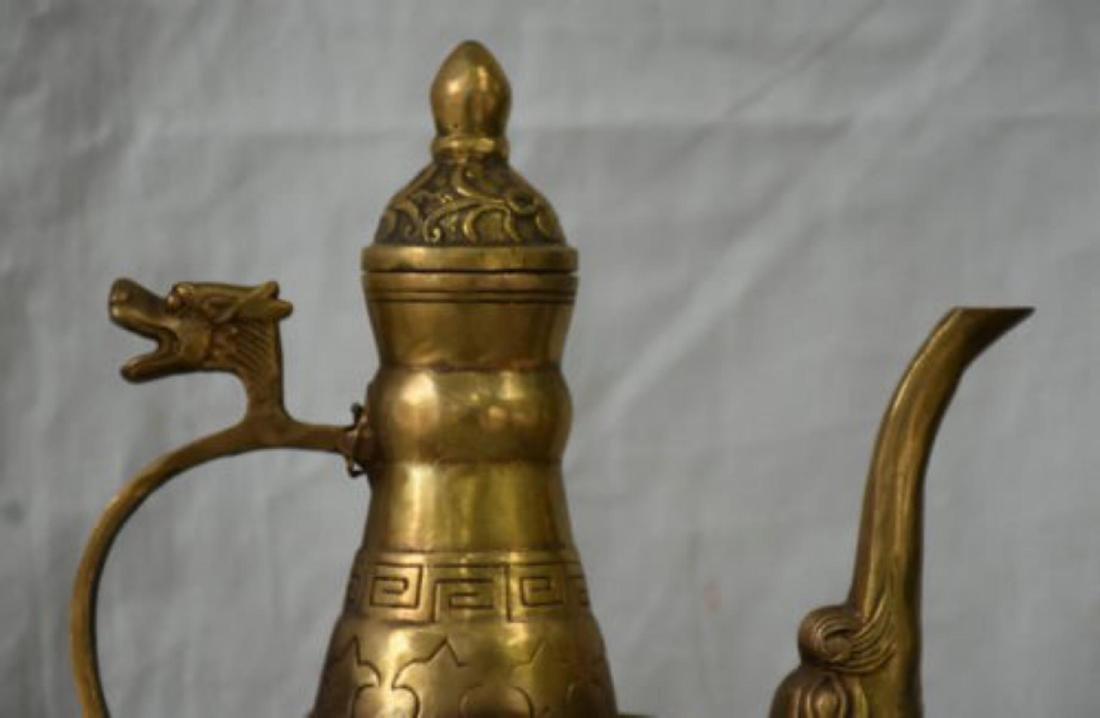 Chinese Brass 8 Immortals Wine Tea/ Wine Pot - 2