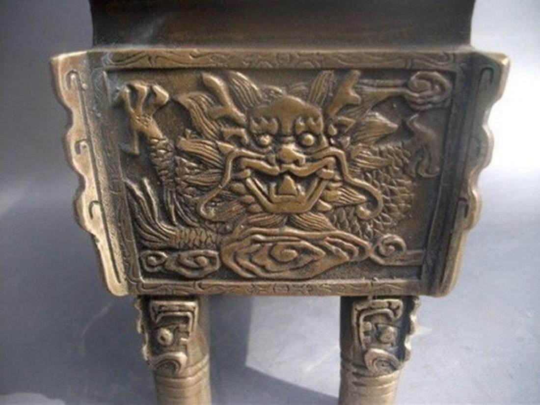 Antique Chinese Carved Bronze Dragon Incense Burner - 2