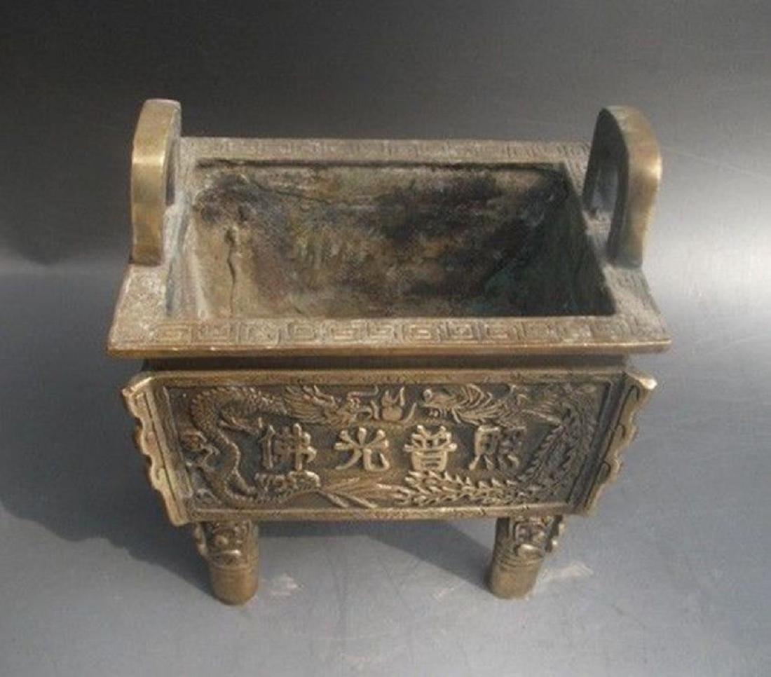Antique Chinese Carved Bronze Dragon Incense Burner - 4