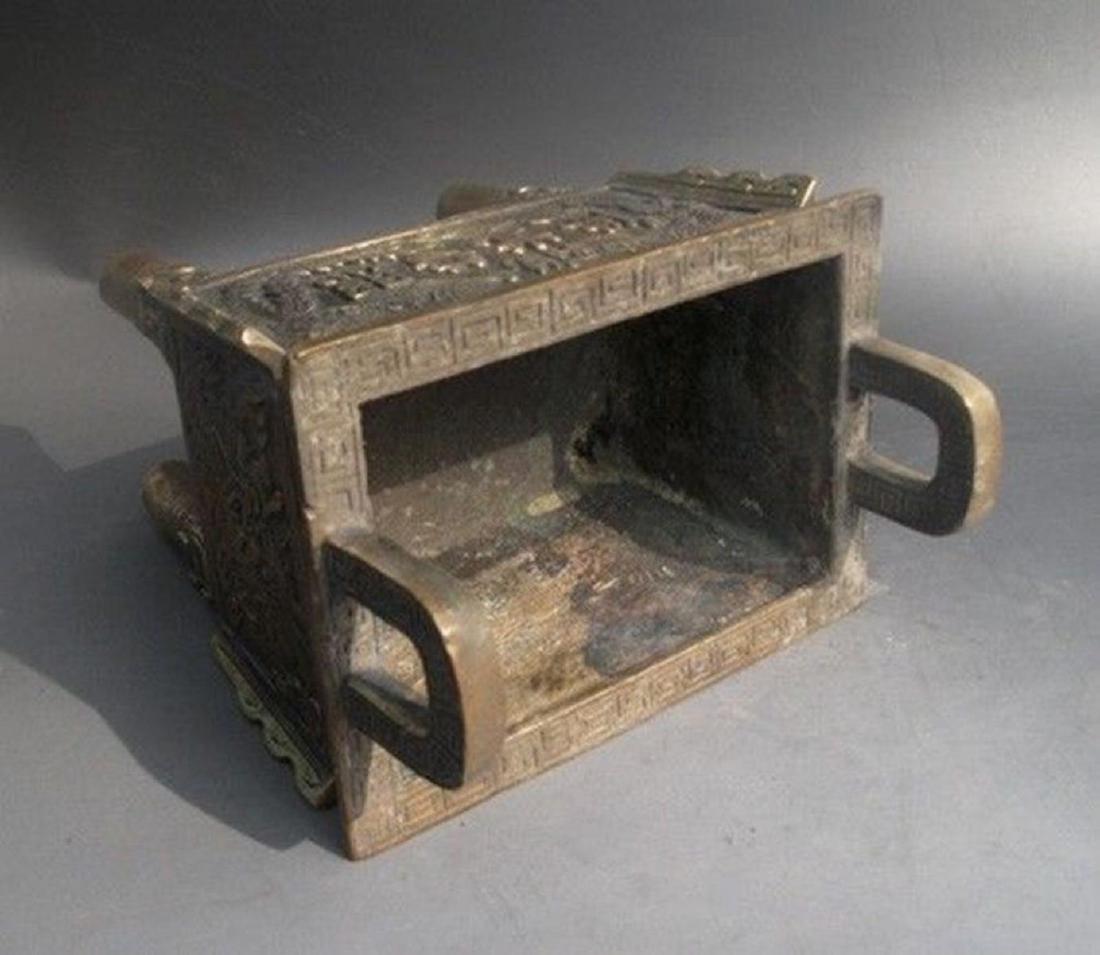 Antique Chinese Carved Bronze Dragon Incense Burner - 6