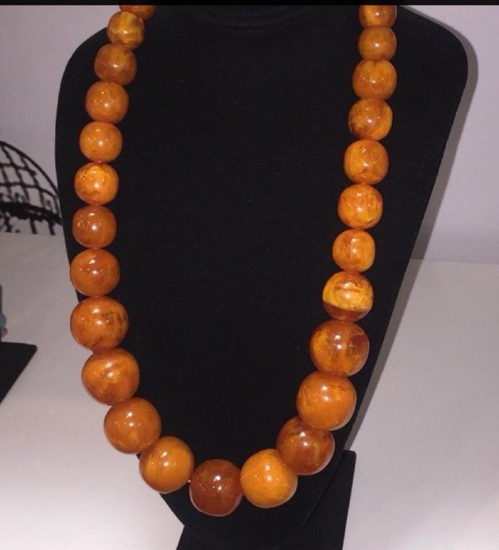 Antique Natural Butterscotch Egg Yolk Amber Necklace - 2