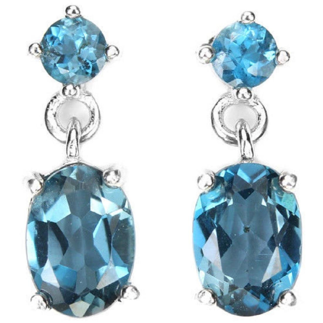 Natural LONDON BLUE TOPAZ OVAL & ROUND Earrings