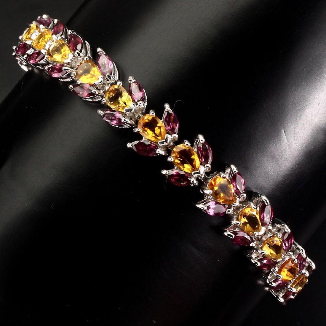 Natural Yellow Citrine Rhodolite Garnet Bracelet