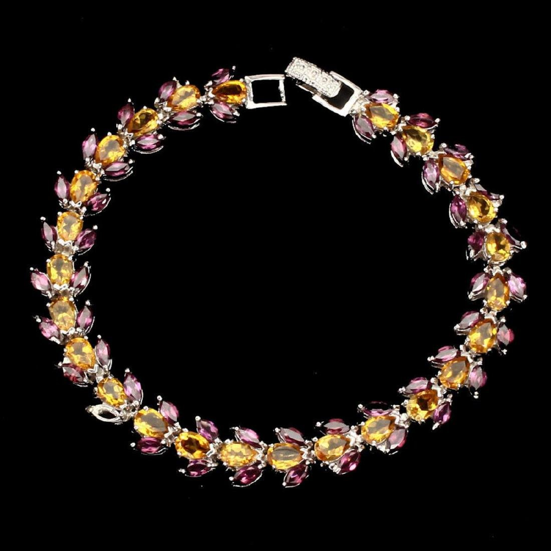 Natural Yellow Citrine Rhodolite Garnet Bracelet - 2