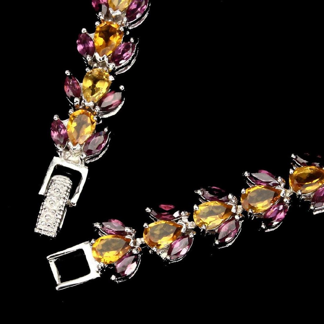Natural Yellow Citrine Rhodolite Garnet Bracelet - 3