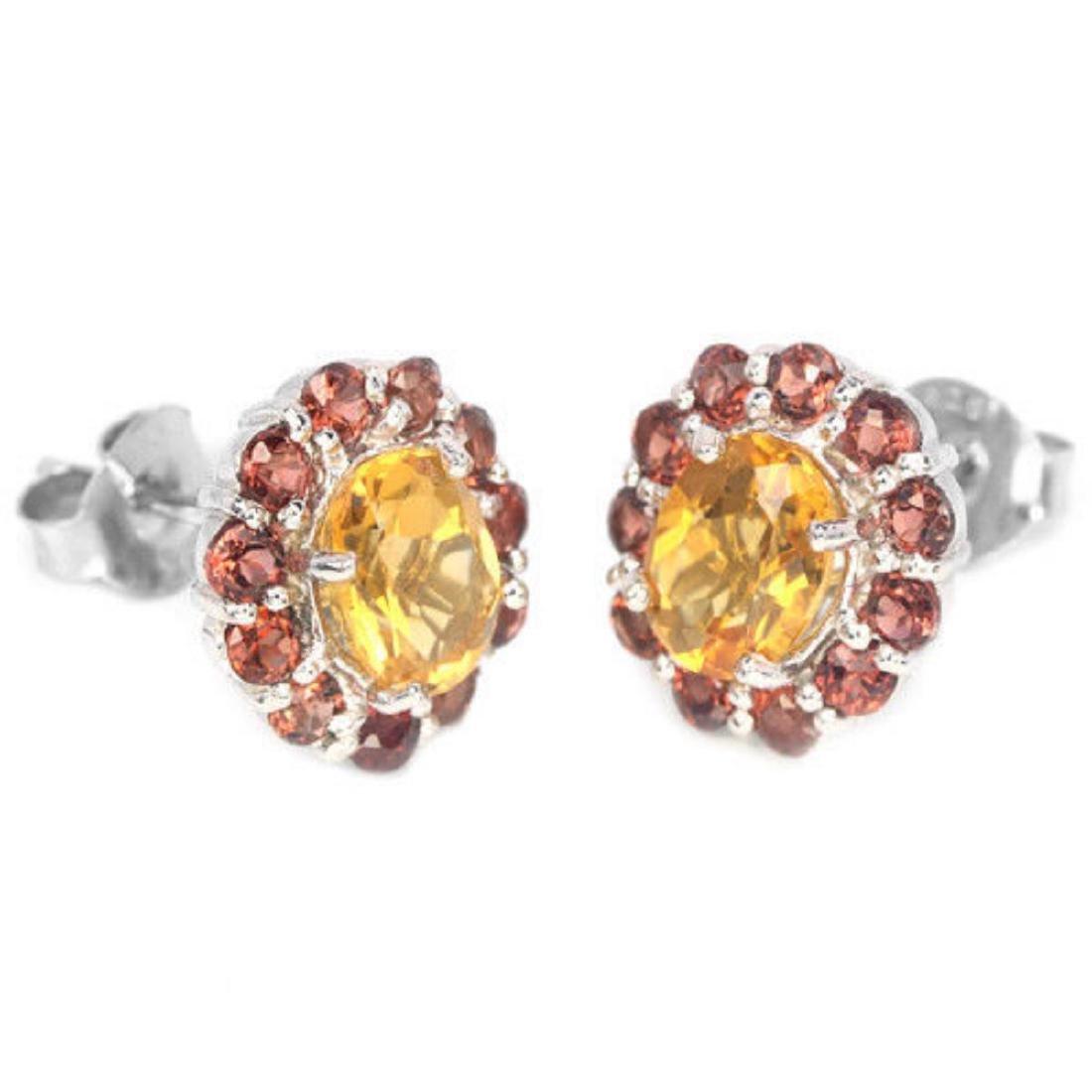 Natural CITRINE & DARK ORANGE RED GARNET Earring - 2