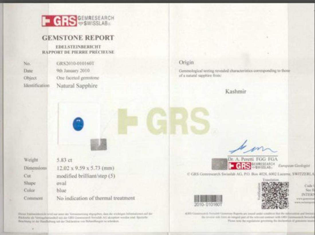 Kahmir Sapphire 5.83 ct - AGL & GRS Certifed - 2