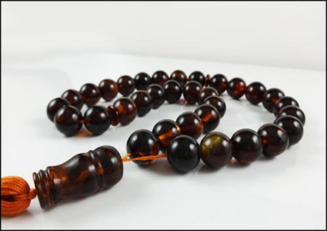 Natural Amber Islamic Prayer 33 beads Tasbih - 3