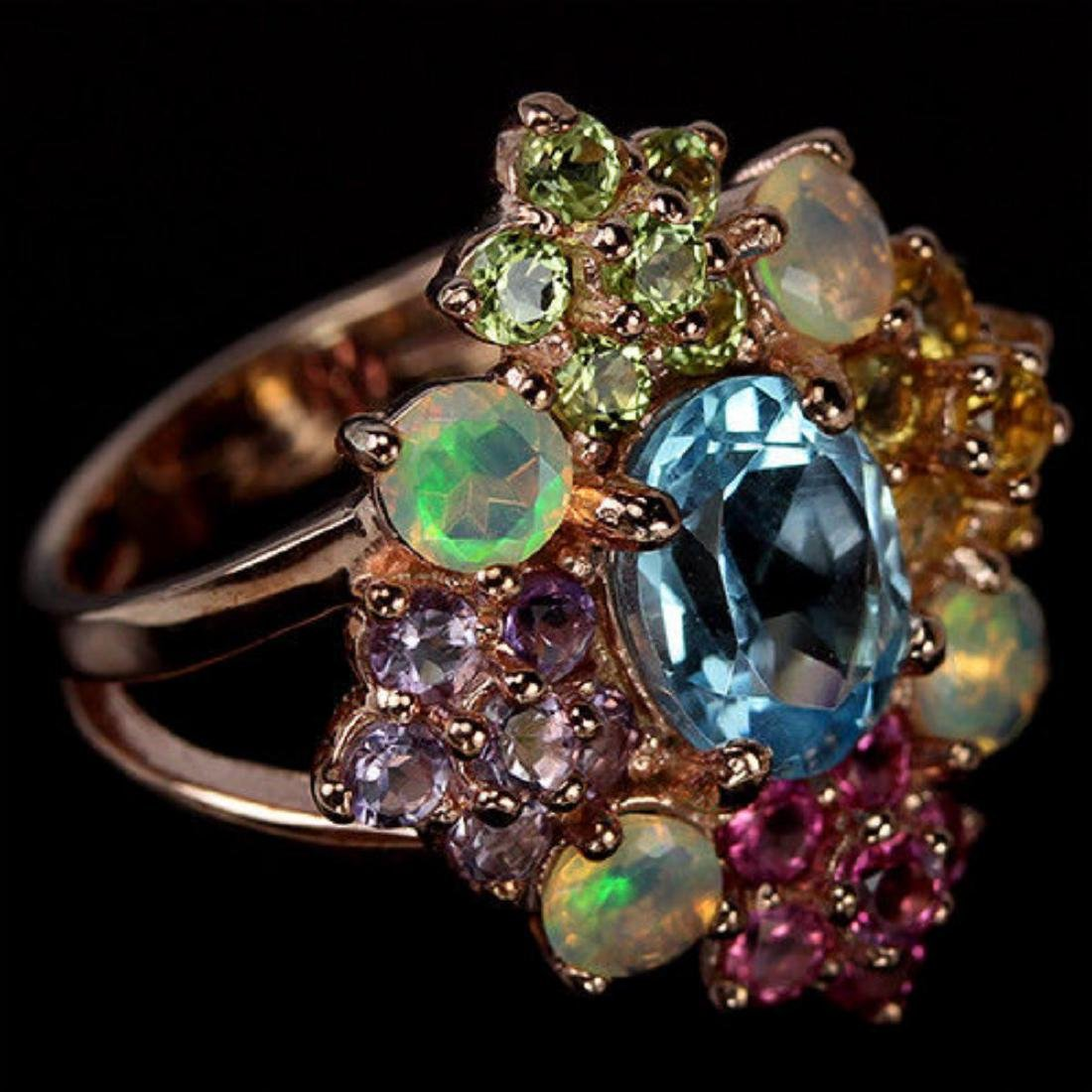 Natural TOPAZ OPAL TOURMALINE CITRINE AMETHYST Ring - 3