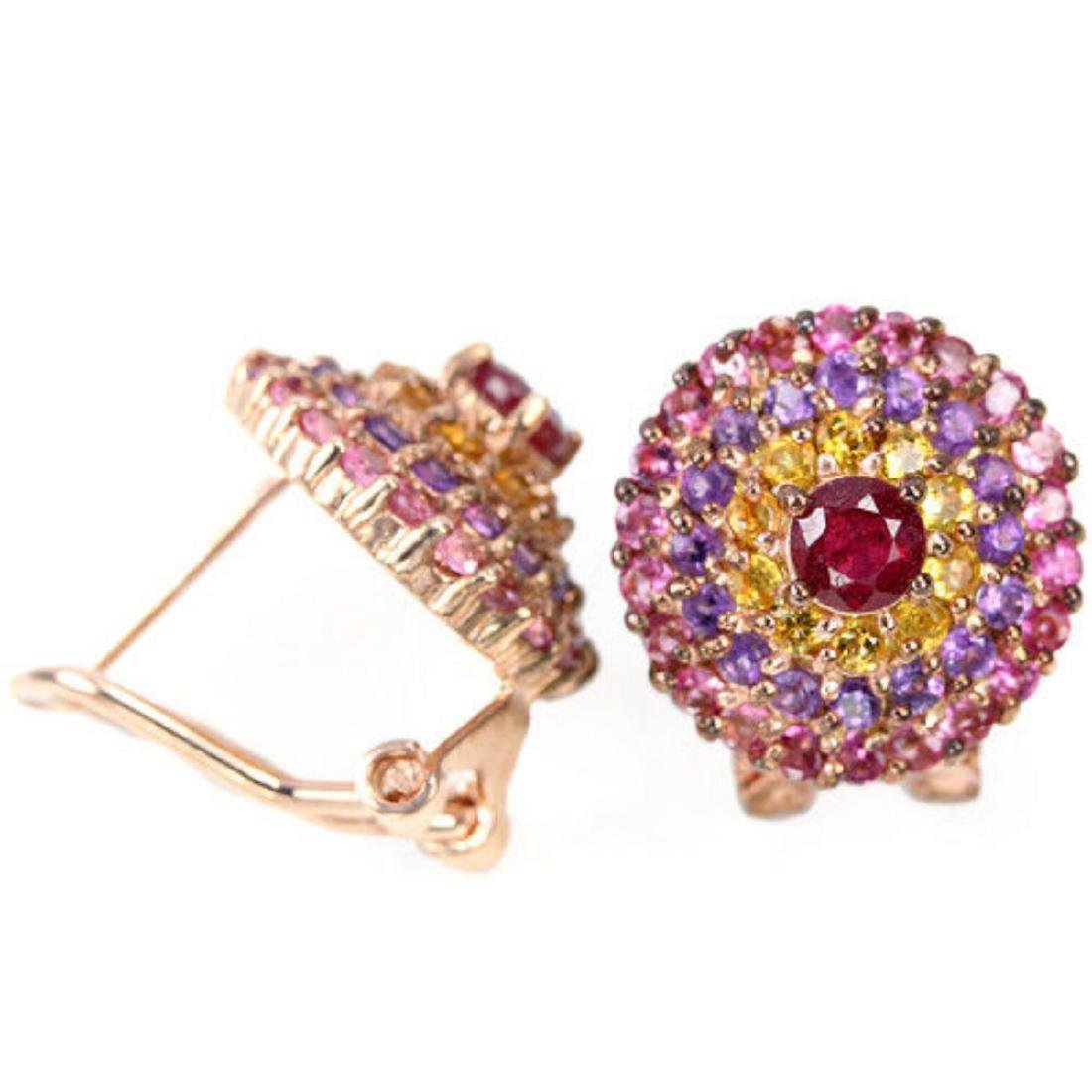 Natural RUBY CITRINE AMETHYST TOURMALINE Earrings - 2