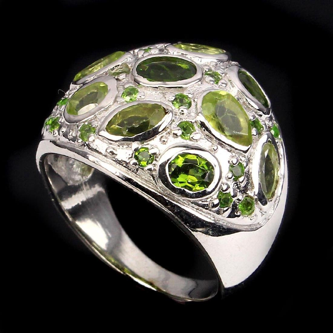 Natural Green Peridot & Chrome Diopside Ring - 2