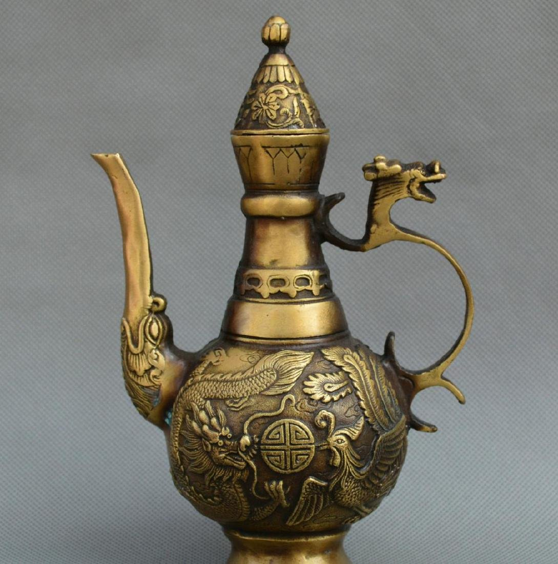 Old Chinese Bronze Dragon Phoenix Kettle