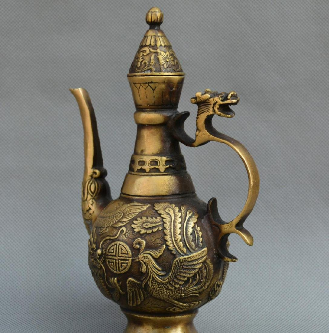 Old Chinese Bronze Dragon Phoenix Kettle - 2