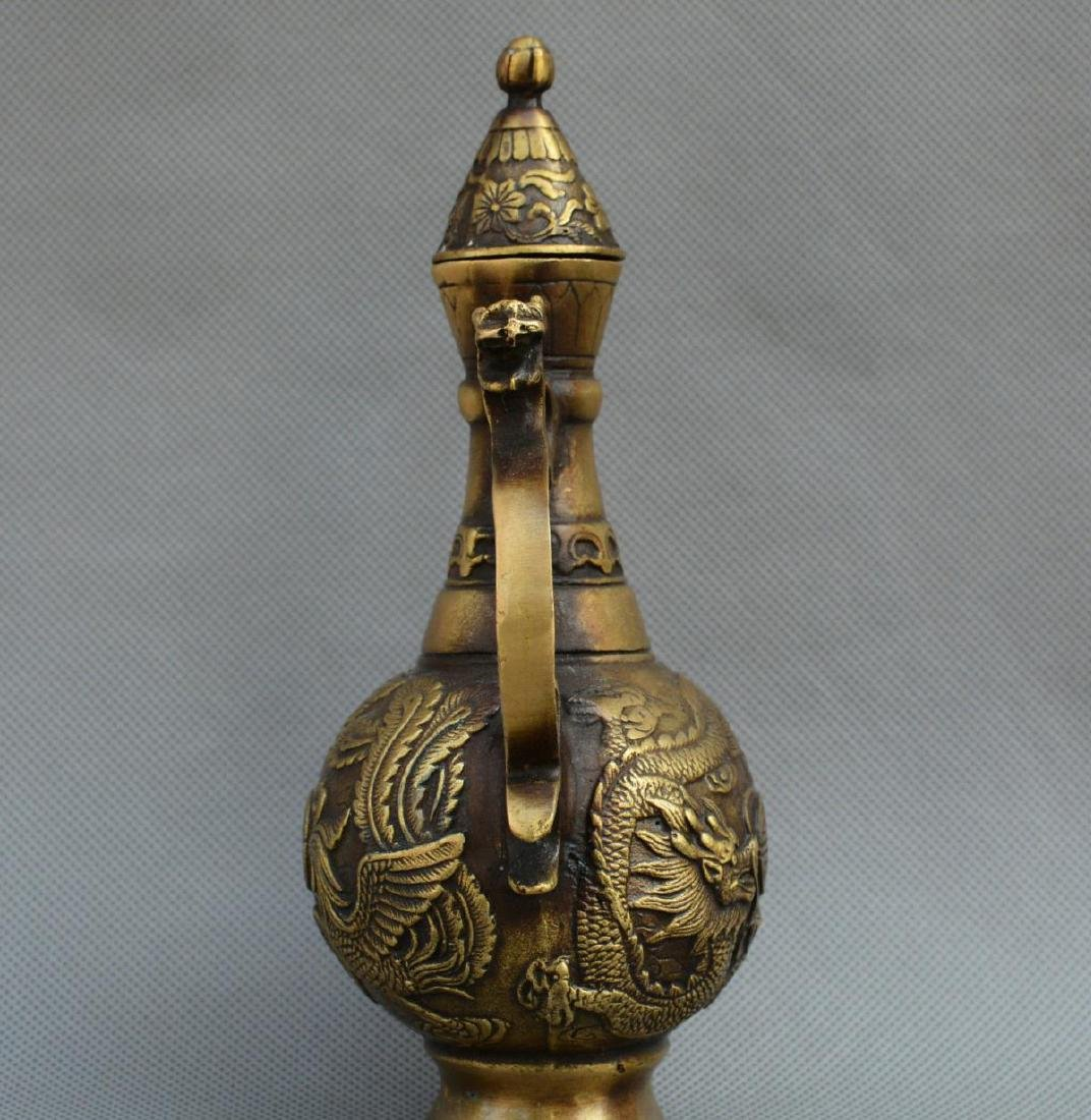 Old Chinese Bronze Dragon Phoenix Kettle - 3