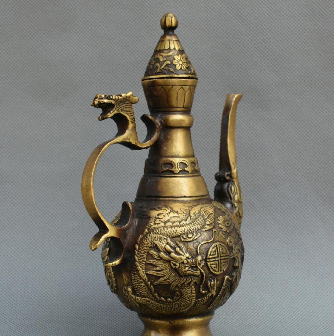 Old Chinese Bronze Dragon Phoenix Kettle - 4