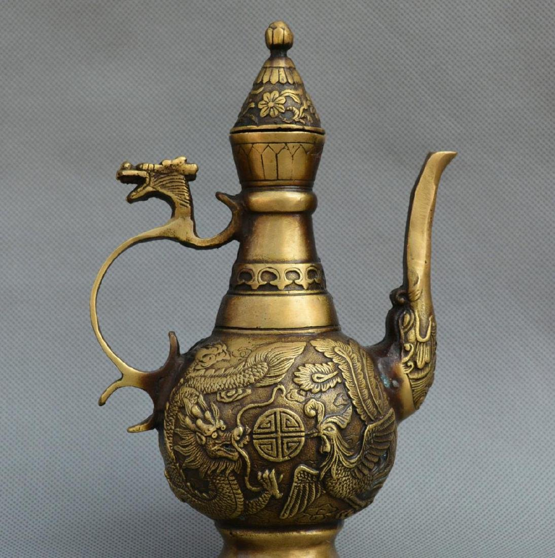 Old Chinese Bronze Dragon Phoenix Kettle - 5