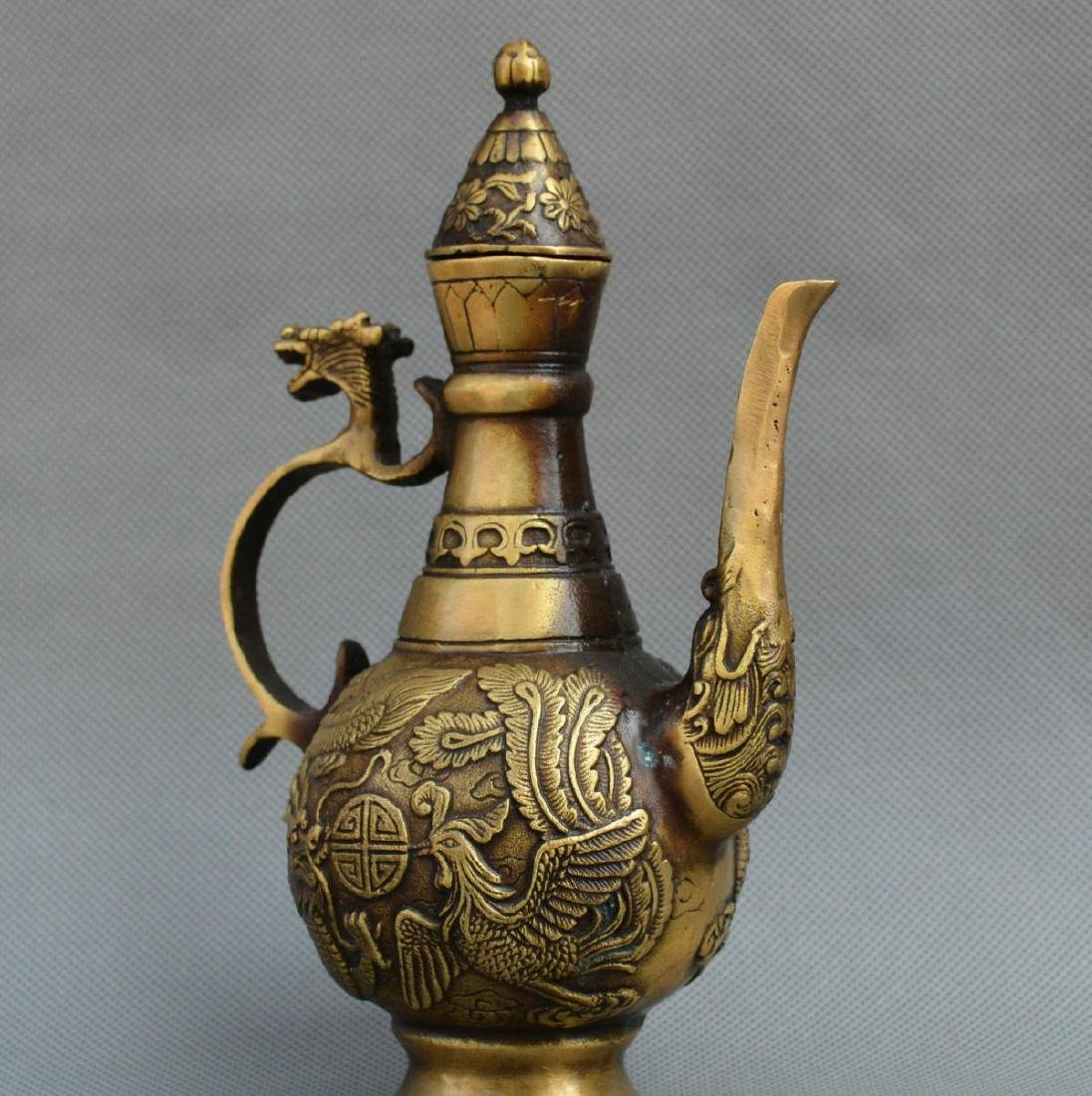 Old Chinese Bronze Dragon Phoenix Kettle - 6