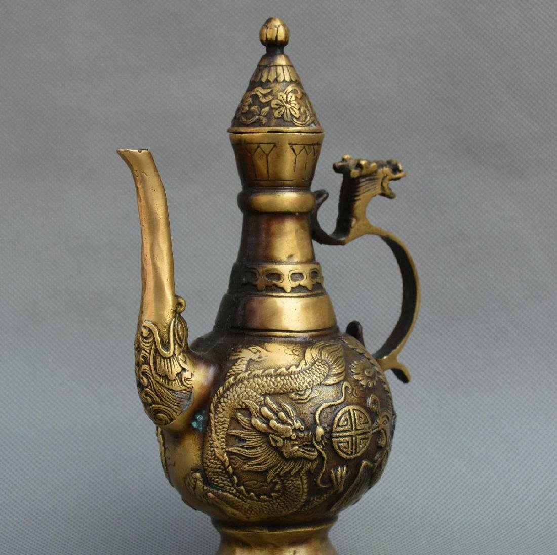 Old Chinese Bronze Dragon Phoenix Kettle - 8