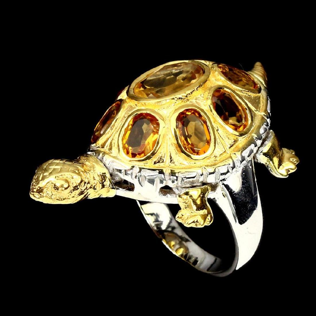 Natural Top Rich Yellow Citrine Turtle Ring - 2