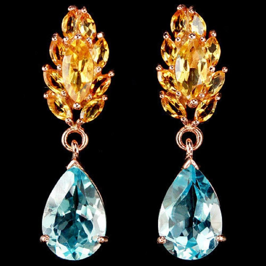 Natural SKY BLUE TOPAZ & YELLOW CITRINE Earrings