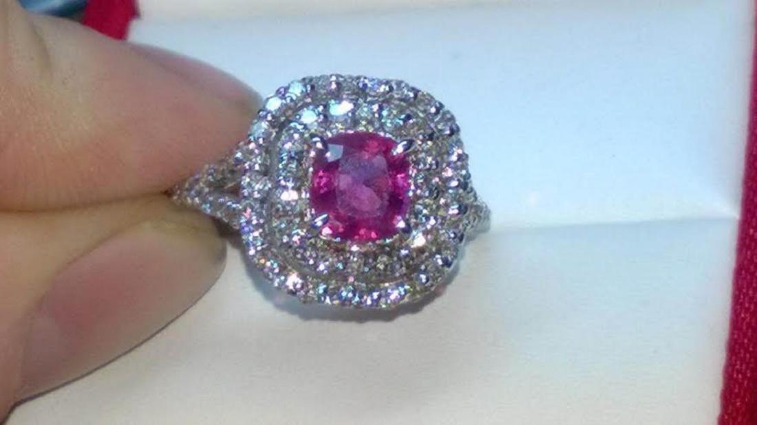Stunning Kashmir Sapphire Diamond & Gold Ring - GRS - 2