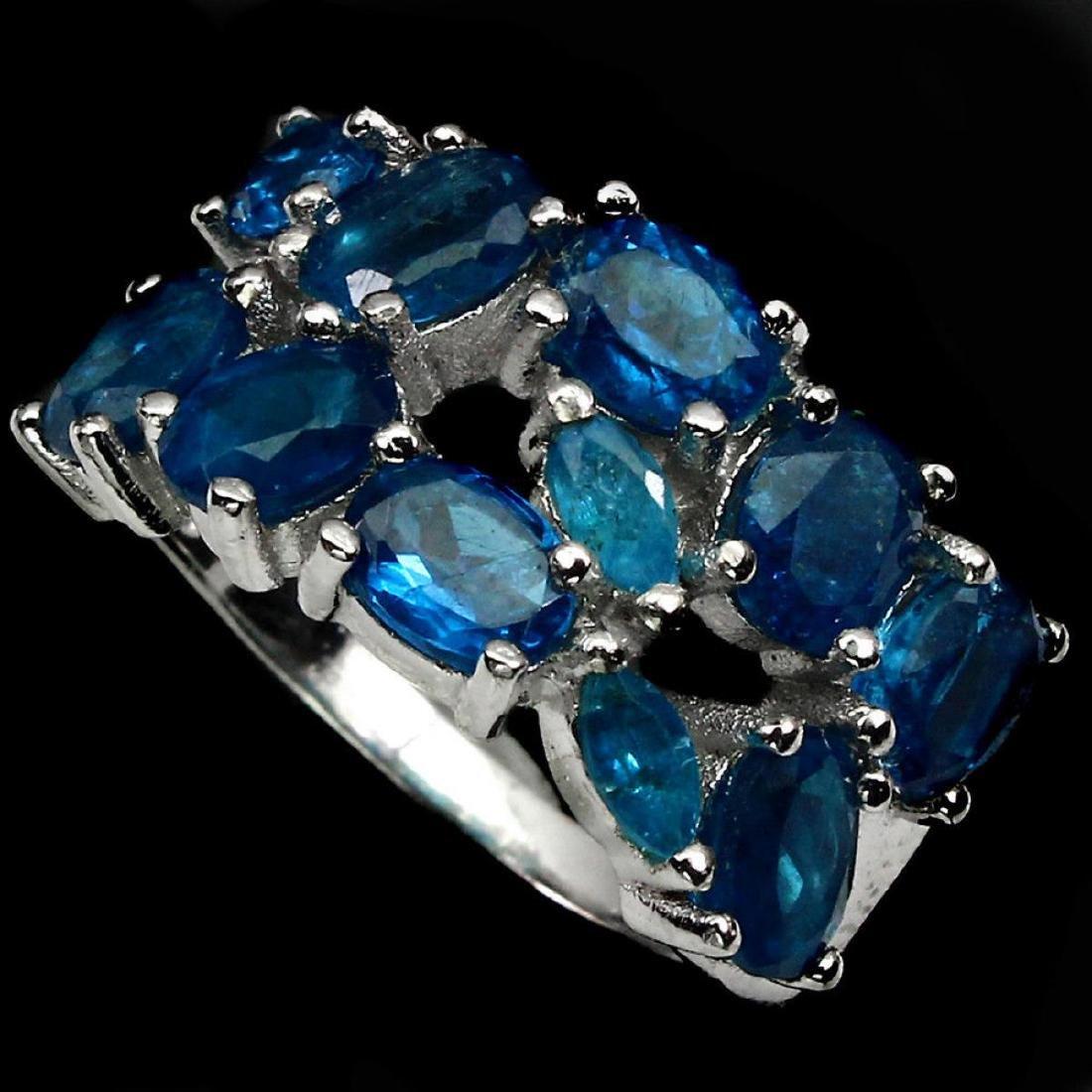 Natural AAA Paraiba Blue Apatite Ring - 2